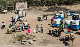 Donkey-carts and taxis on the side of the road royalty free stock images