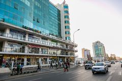 Addis Ababa, Ethiopia, January 30, 2014, Modern building in down. Town Addis Ababa, Shopping center in developing country Royalty Free Stock Photos