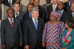 German President  with AU Chairperson and senior officials Royalty Free Stock Image