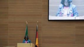 Ambassador Konjit Sene Giorgis delivers her speech Stock Photography