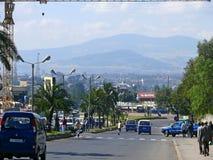 ADDIS ABABA, ETHIOPIA - NOVEMBER 25, 2008: Settlement. Busy road Stock Photos