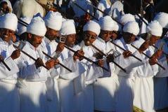 Addis Ababa, Ethiopia: Priests chanting prayers during Timkat, Epiphany celebrations. Addis Ababa, Ethiopia: Priests chanting prayers during Timkat, Epiphany stock image