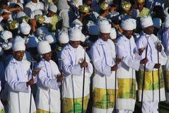 Addis Ababa, Ethiopia: Priests chanting prayers at Timkat, Epiphany celebrations. Addis Ababa, Ethiopia: Priests chanting prayers at Timkat, Epiphany stock image