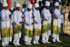 Addis Ababa, Ethiopia: Priests chanting prayers during Timkat, Epiphany celebrations. Addis Ababa, Ethiopia: Priests chanting prayers during Timkat, Epiphany royalty free stock photo