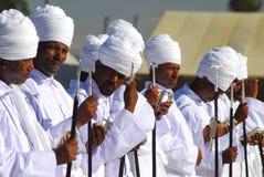 Addis Ababa, Ethiopia: Priests pray at Timkat, Epiphany celebrations. Addis Ababa, Ethiopia: Priests pray at Timkat, Epiphany celebration in Janmeda Horseracing stock image
