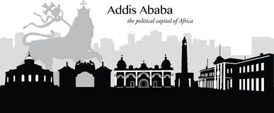 Addis Ababa, Ethiopia. Vector illustration of the capital of Ethiopia, Addis Ababa, as black and white vector illustration silhouette in cityscape/skyline format Stock Photo