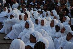 Addis Ababa, Ethiopia: Women attending Timkat Epiphany celebrations. stock image