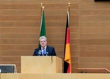 O presidente Joachim Gauck entrega seu discurso Fotografia de Stock Royalty Free