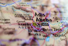 Addis Ababa on map. Close up shot of Addis Ababa. Abeba. is the capital and largest city of Ethiopia Stock Images
