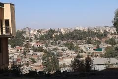 Addis Ababa`s high-density housing. View of housing in Addis Ababa, Ethiopia, with a higher population density - blocks of flats, and tower blocks stock image
