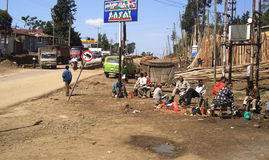 Addis Abeba, Ethiopia. Men sitting in a street of Addis Abeba, Ethiopia stock images