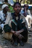 Addis Zemen, Etiopia, 26th 2006 Grudzień: kobieta od wiejski społeczności pozować fotografia stock