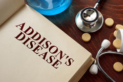 Addisons-Krankheit geschrieben auf Buch mit Tabletten Lizenzfreie Stockfotos