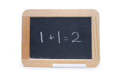 Addition. Blackboard with the problem 1+1=2 Stock Image