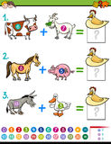 Addition educational activity for kids Royalty Free Stock Images