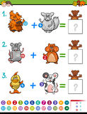 Addition educational maths activity for kids. Cartoon Illustration of Educational Mathematical Addition Activity Game for Children with Animal Characters Royalty Free Stock Images