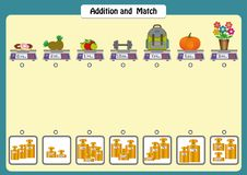 Addition and match the weights of objects, math worksheets for kids, scales and weights. Addition and match the weights of objects, math worksheets for students royalty free illustration