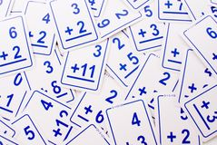 Addition Math Cards (blue) Royalty Free Stock Images