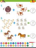 Addition maths activity with animals. Cartoon Illustration of Educational Mathematical Addition Activity Game for Children with Farm Animal Characters Stock Image