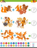 Addition maths game for kids. Cartoon Illustration of Educational Mathematical Addition Game for Kids with Animal Characters Stock Photography
