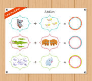 Addition number - Worksheet for education Royalty Free Stock Images