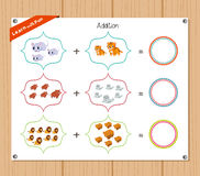 Addition number - Worksheet for education Stock Photo