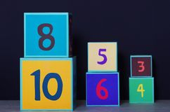 Addition or subtraction with cubes. Stock Photos