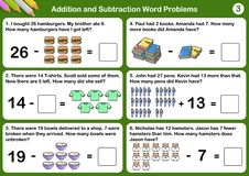 Addition and Subtraction word problems. Worksheet for exam and testing vector illustration