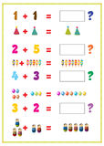 Addition tables. Illustration of addition table with explain by toys vector illustration