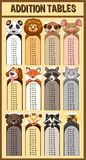 Addition tables with wild animals. Illustration Royalty Free Stock Image