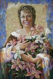 Artwork. Birthday of Olga. Author: Nikolay Sivenkov. stock illustration