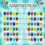 Addition to ten worksheet on blue background Royalty Free Stock Images