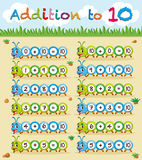 Addition to ten worksheet with caterpillar. Illustration Stock Photo