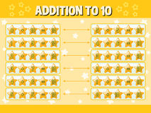 Addition to ten with yellow stars Stock Photo