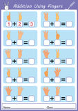 Addition using fingers, math worksheet. Addition using fingers, add and writing, math worksheet Royalty Free Stock Photography