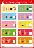 Addition using fingers, math worksheet for kids. Addition using fingers, add and writing, math worksheet Stock Image
