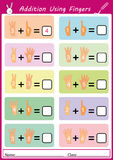 Addition using fingers, math worksheet for kids. Addition using fingers, add and writing, math worksheet Stock Photography