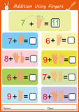 Addition using fingers, math worksheet for kids. Addition the object and write the correct answer, math worksheet for kids Royalty Free Stock Images