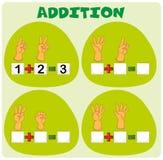 Addition worksheet with hand symbols. Illustration Royalty Free Stock Photos