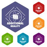 Additional reality icons vector hexahedron. Additional reality icons vector colorful hexahedron set collection isolated on white vector illustration