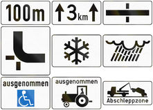 Additional Traffic Panels In Austria Royalty Free Stock Photos