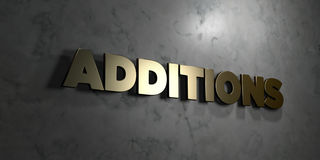 Additions - Gold text on black background - 3D rendered royalty free stock picture Royalty Free Stock Image