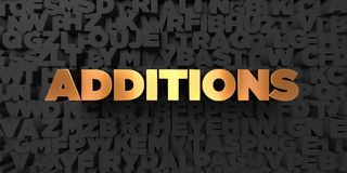 Additions - Gold text on black background - 3D rendered royalty free stock picture Royalty Free Stock Photos