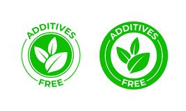 Additives free vector green organic leaf icon. Additives free no added, natural organic food package. Stamp stock illustration