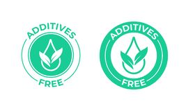 Additives free vector icon. Green leaf and drop, additives free natural food package. Addititves free vector icon. Green leaf and drop, addititves free natural vector illustration