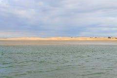 Addo Elephant National Park marine area landscape, South Africa. Addo Elephant National Park marine area landscape. Sand dunes at coastline. African panorama royalty free stock image