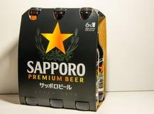 Addominali scolpiti della birra premio dell'esportazione di Sapporo isolata su fondo bianco La fabbrica di birra giapponese è sta immagini stock libere da diritti