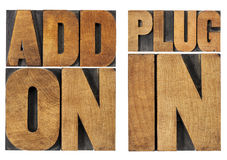 Addon and plugin. Addon (add-on) and plugin (plug-in) -computer software component or application - isolated text in vintage letterpress wood type printing Stock Photography