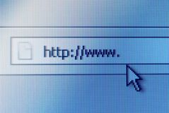 Address bar on computer screen. Close-up shot of address bar on computer screen with cursor arrow Royalty Free Stock Images
