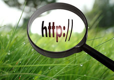 Address bar http. Magnifying glass with the word address bar http on grass background. Selective focus royalty free stock photos